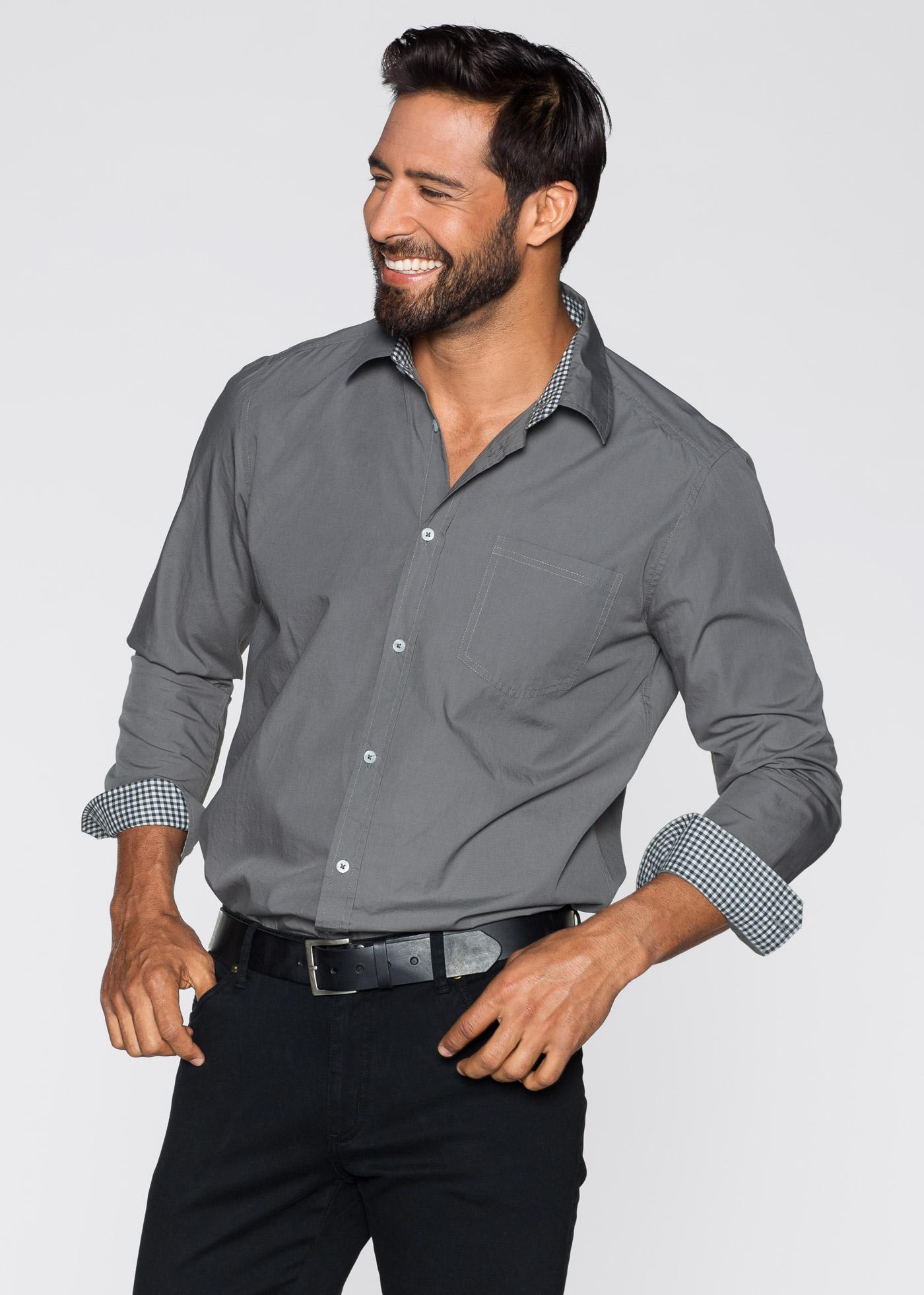Skjorta, normal passform, bpc selection, rökgrå