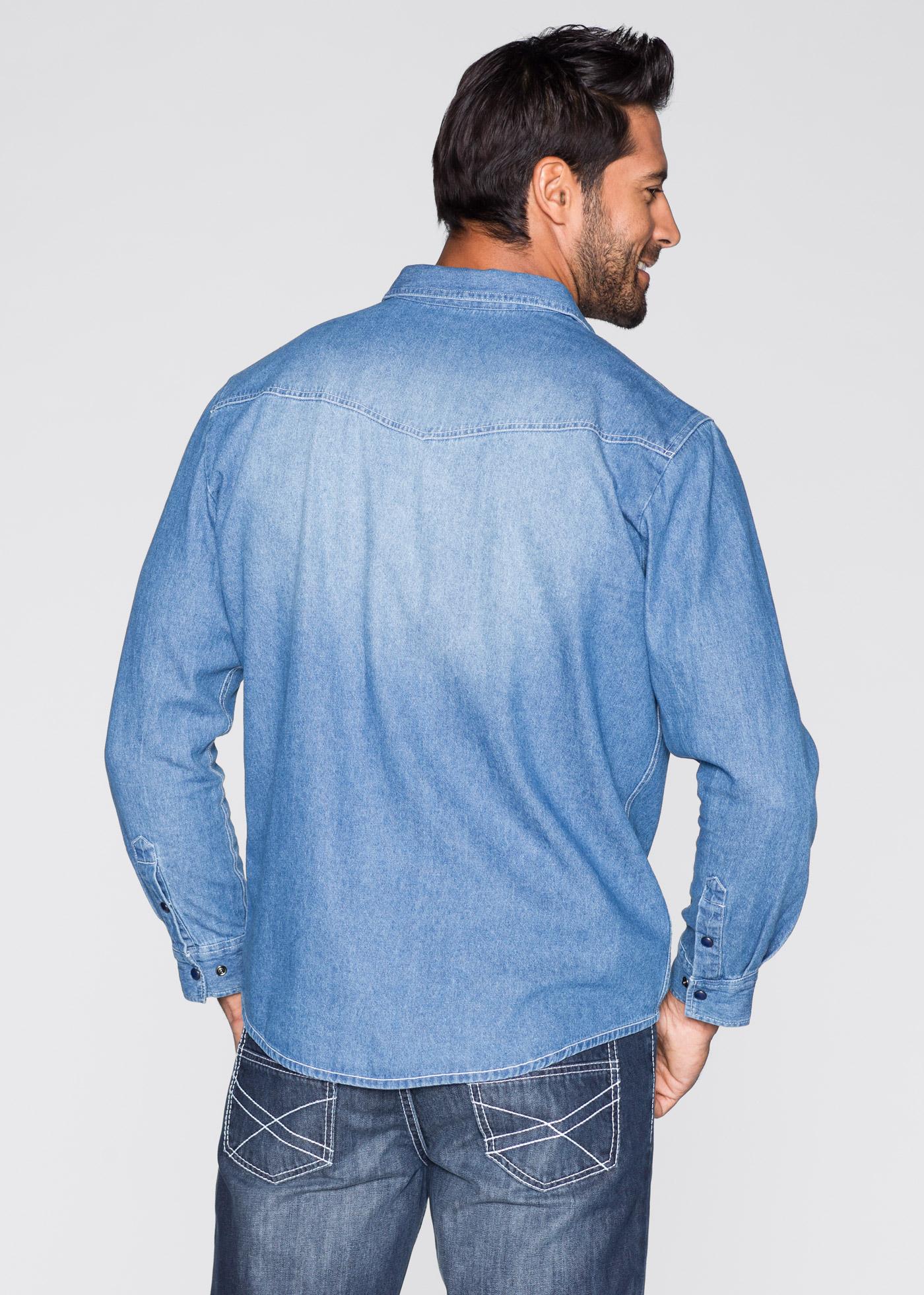 Jeansskjorta, normal passform, John Baner JEANSWEAR, blue bleached used