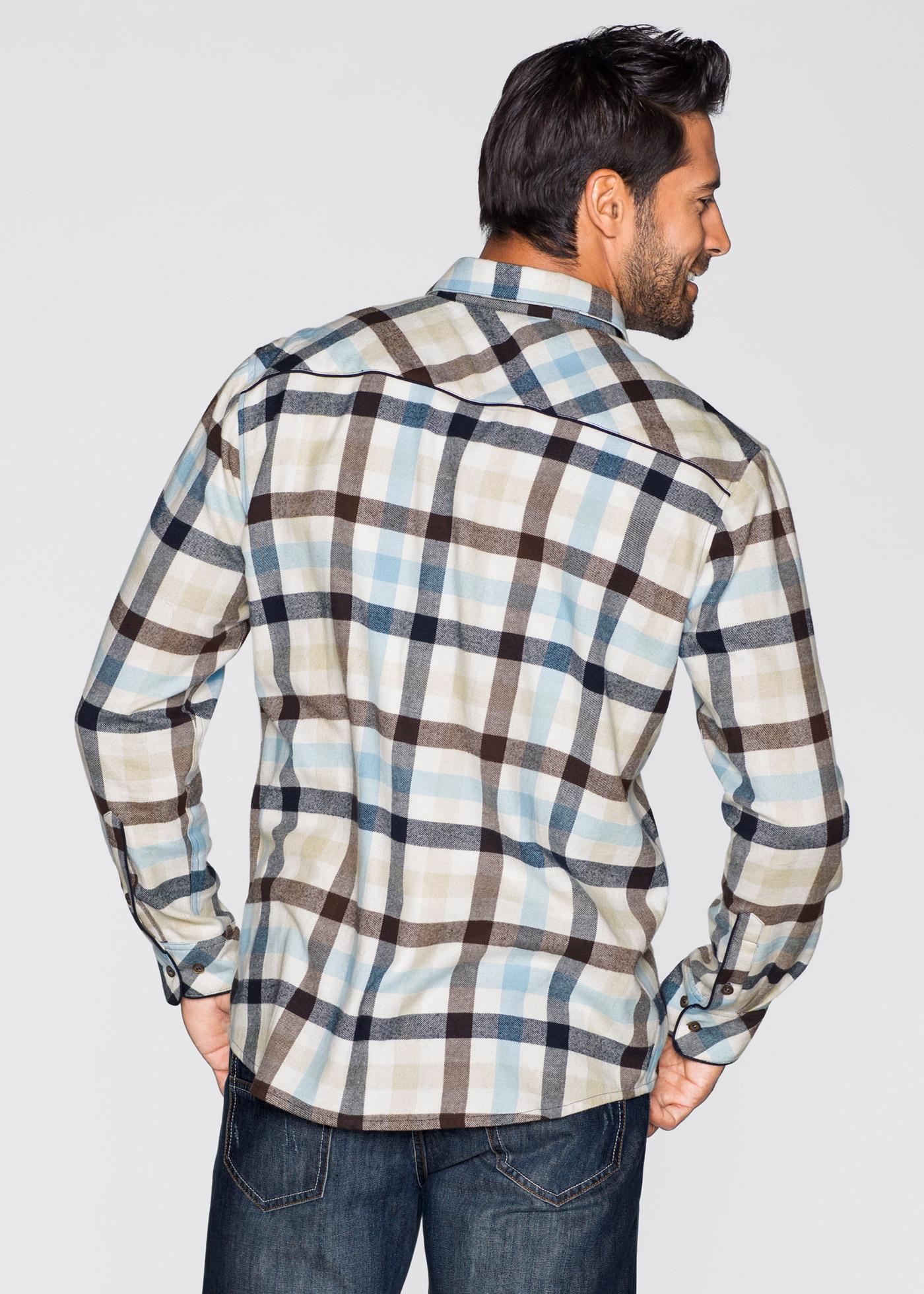 Flanellskjorta Regular Fit, John Baner JEANSWEAR, vit/blå/brun