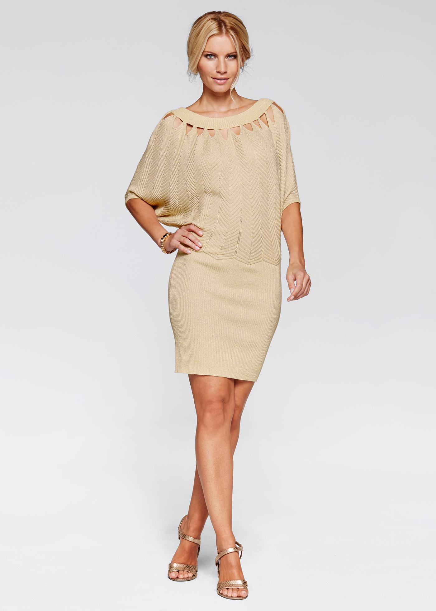 Klänning, BODYFLIRT boutique, beige/guld