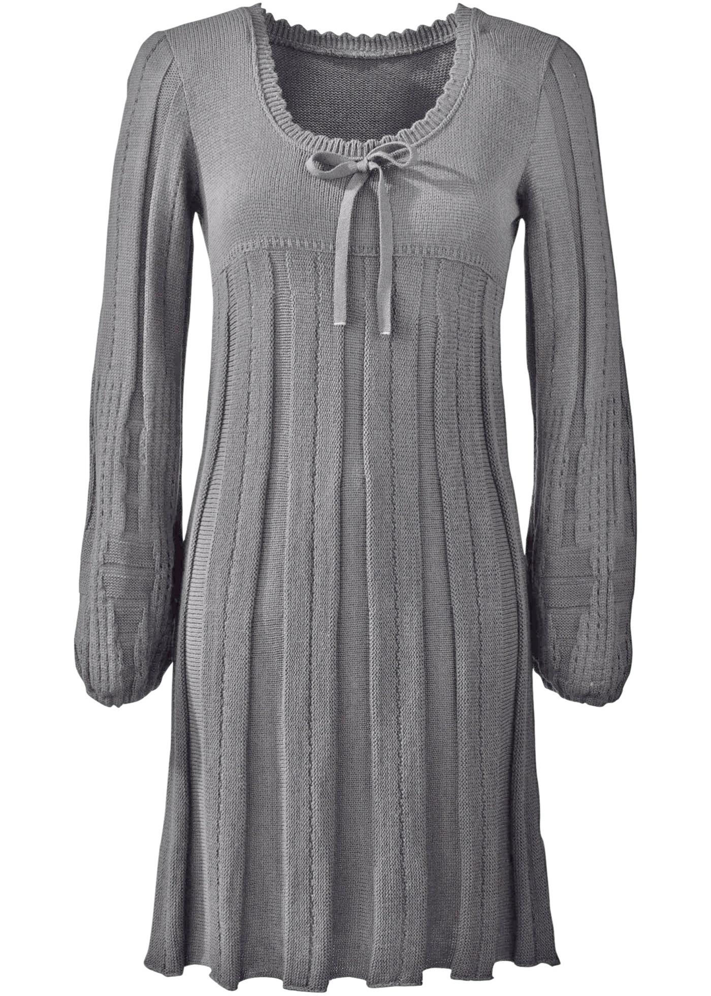 Stickad klänning, BODYFLIRT, gråmelerad
