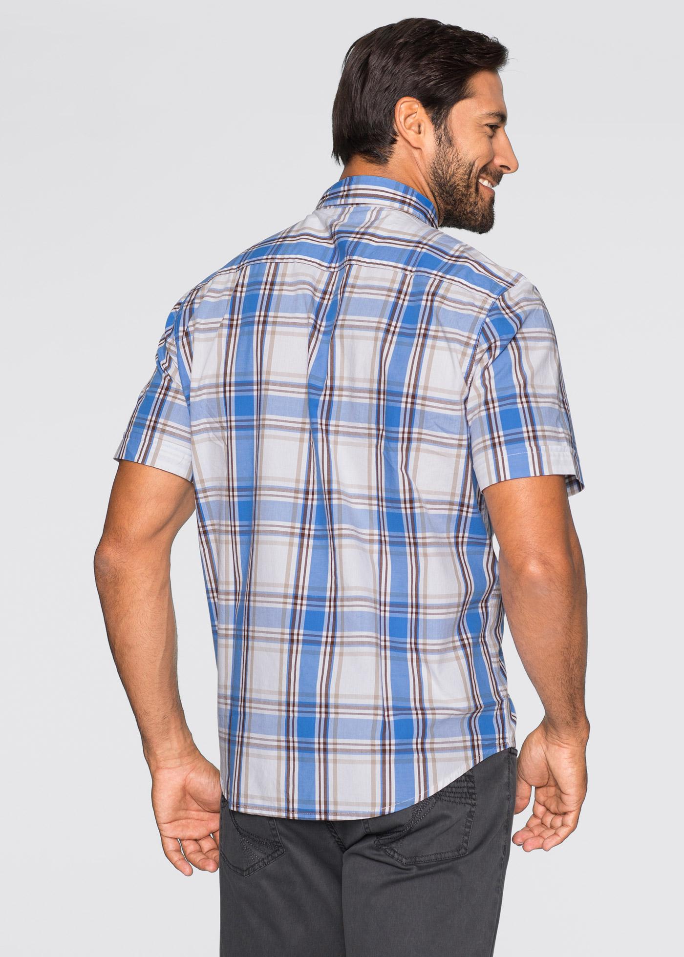 Rutig skjorta, bpc selection, mellanblå/vit, rutig