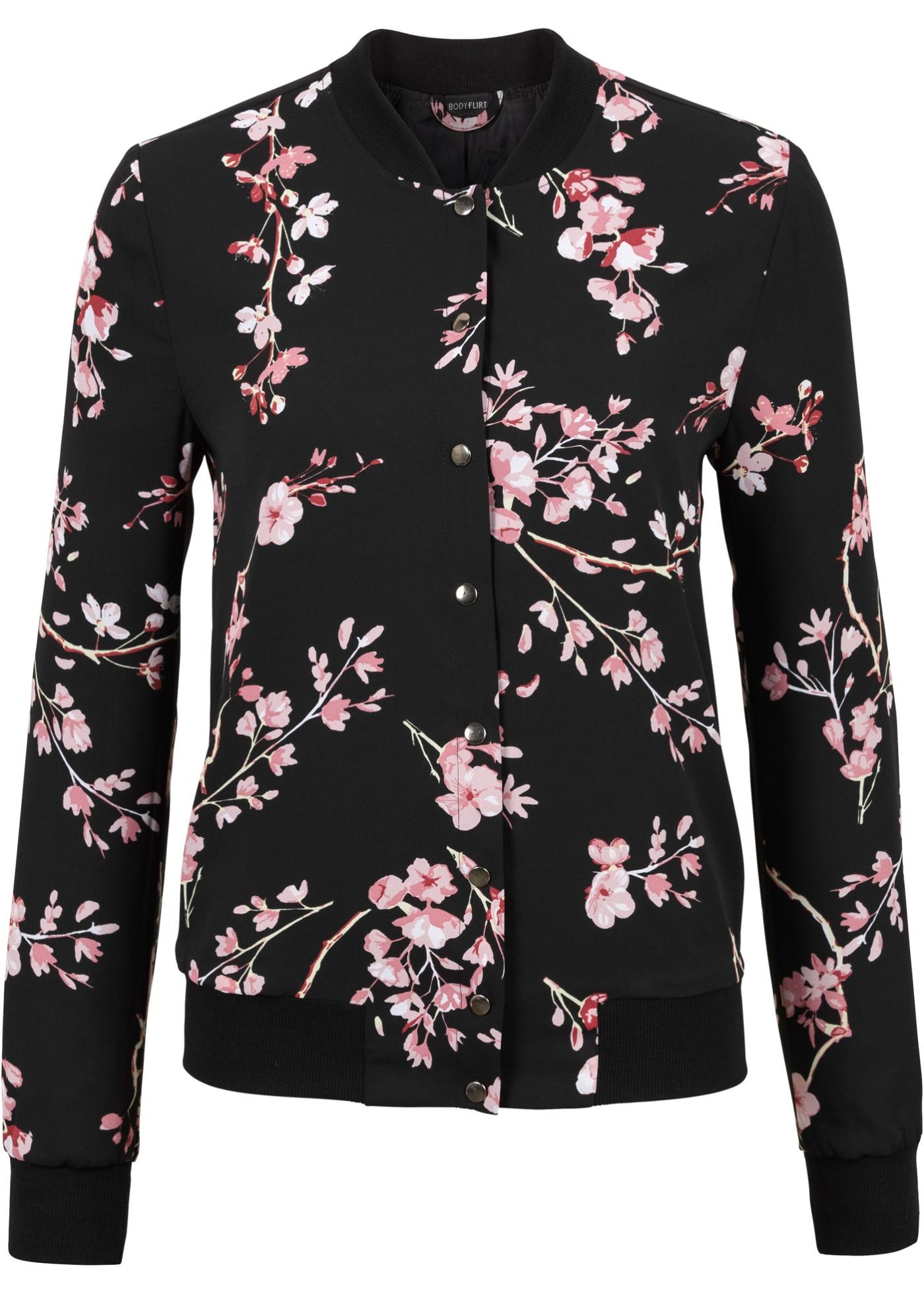 MUST HAVE: Blusjacka, BODYFLIRT, svart/rosa, blommig