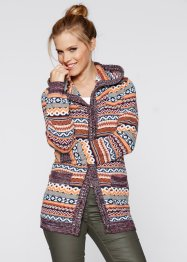Cardigan med luva, bpc bonprix collection, svartmelerad