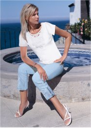 7/8-stretchjeans med broderi, bpc selection, blue bleached