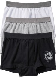 Boxershorts (3-pack), bpc bonprix collection, svart/vit/ljusgrå melerad