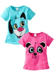 T-shirt (2-pack), bpc bonprix collection, pink/aqua