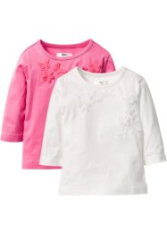 Topp med applikation (2-pack), bpc bonprix collection, ullvit+pink
