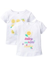 Baby-T-shirt (2-pack), ekologisk bomull, bpc bonprix collection, vit, mönstrad