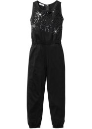 Jumpsuit med paljettapplikation, bpc bonprix collection, svart