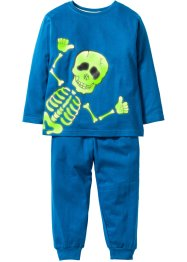 Pyjamas (2 delar) GLOW IN THE DARK, bpc bonprix collection, blå/skelett