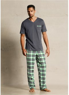 Pyjamas, bpc bonprix collection, antracit, rutig