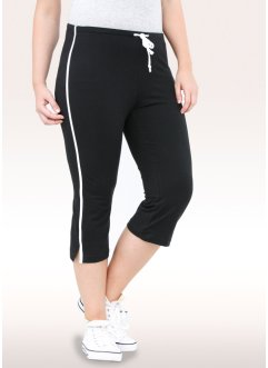 Sportcapribyxa i stretch (2-pack), bpc bonprix collection, svart/ljusgråmelerad