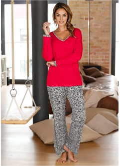 Pyjamas, bpc bonprix collection, röd/leopard