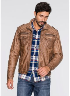 Jacka i skinnimitation, normal passform, John Baner JEANSWEAR, cognac