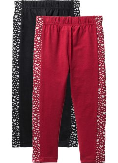 Leggings med glitter (2-pack), bpc bonprix collection, svart+mörkröd