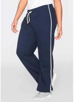 Joggingbyxa, lång, 2-pack, bpc bonprix collection, mörkblå/ljusgråmelerad