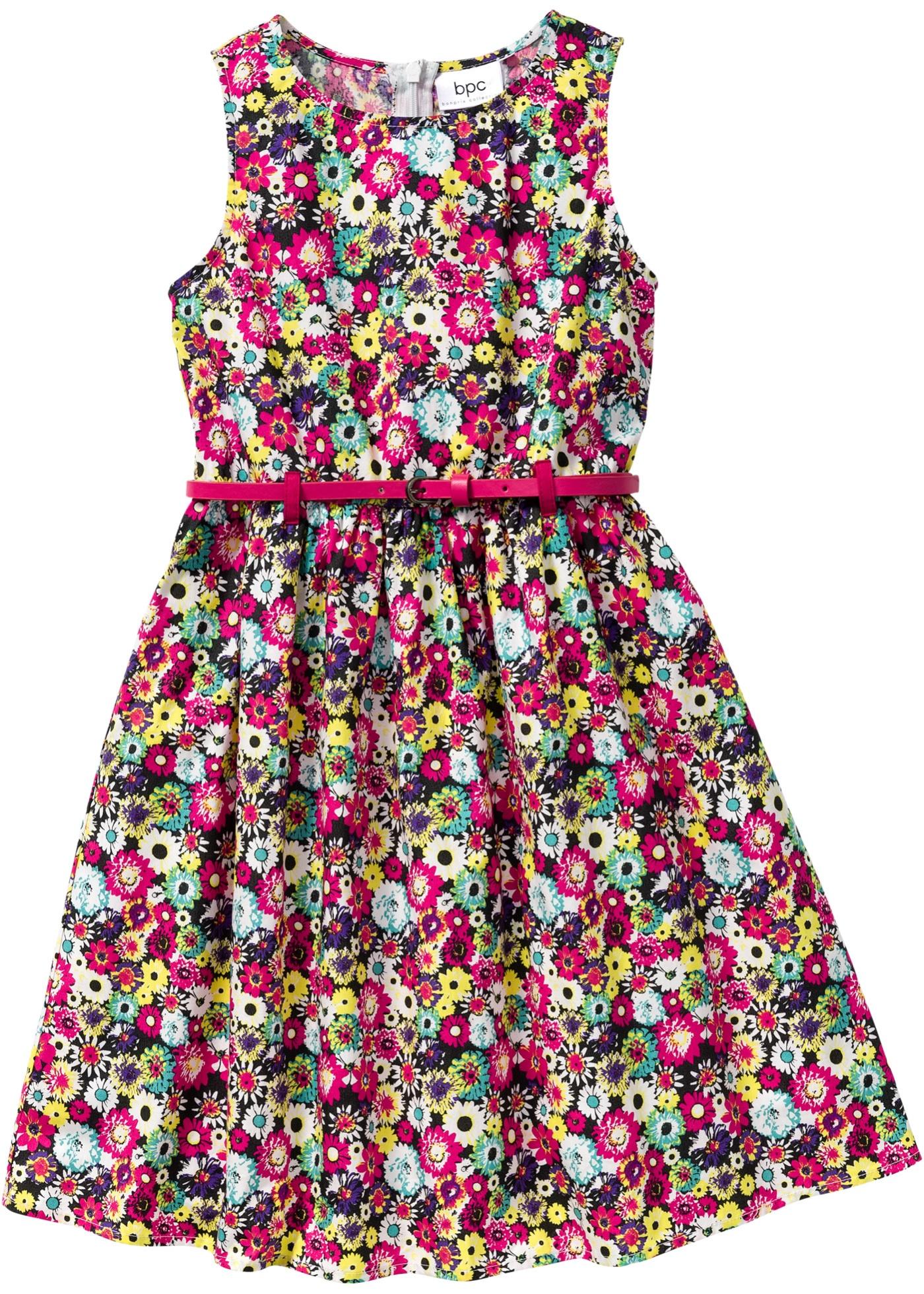 Blommig klänning med skärp, strl. 116-170