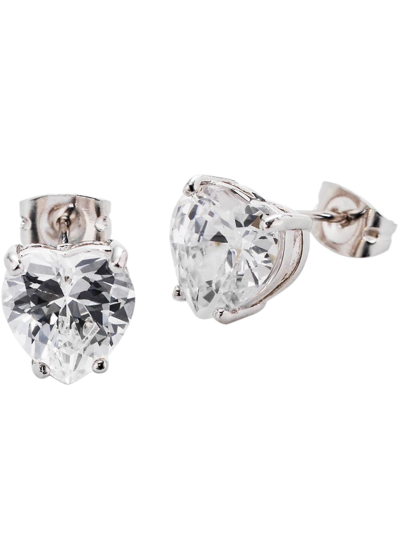 Örhängen med hjärtformade zirkoniastenar, bpc bonprix collection, silverfärgad
