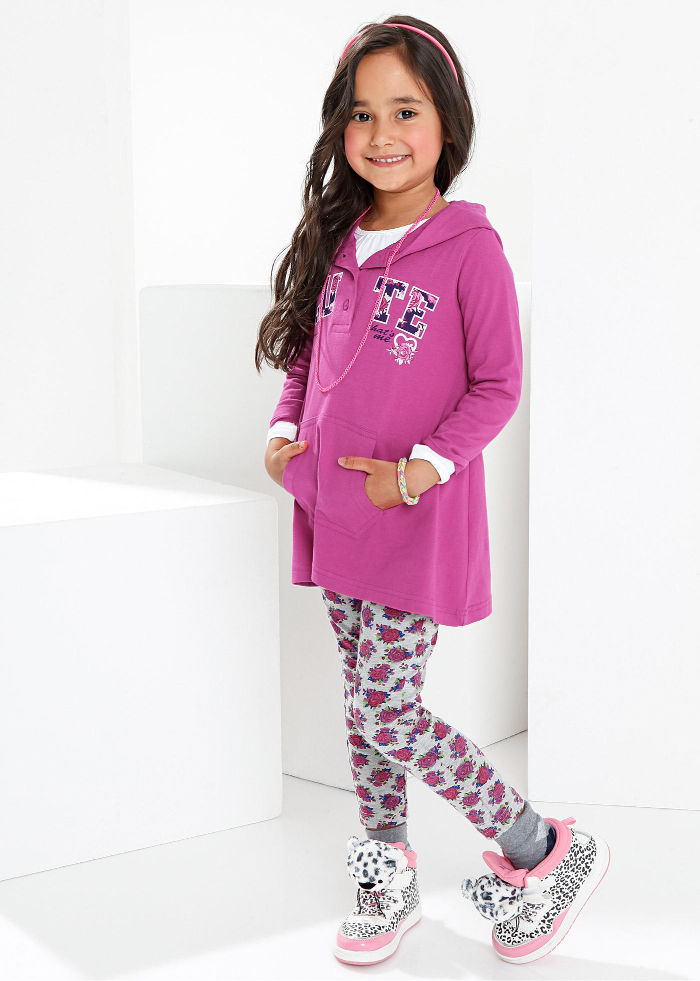 Huvklänning + leggings (2 delar), bpc bonprix collection, fuchsia/ljusgråmelerad, mönstrad