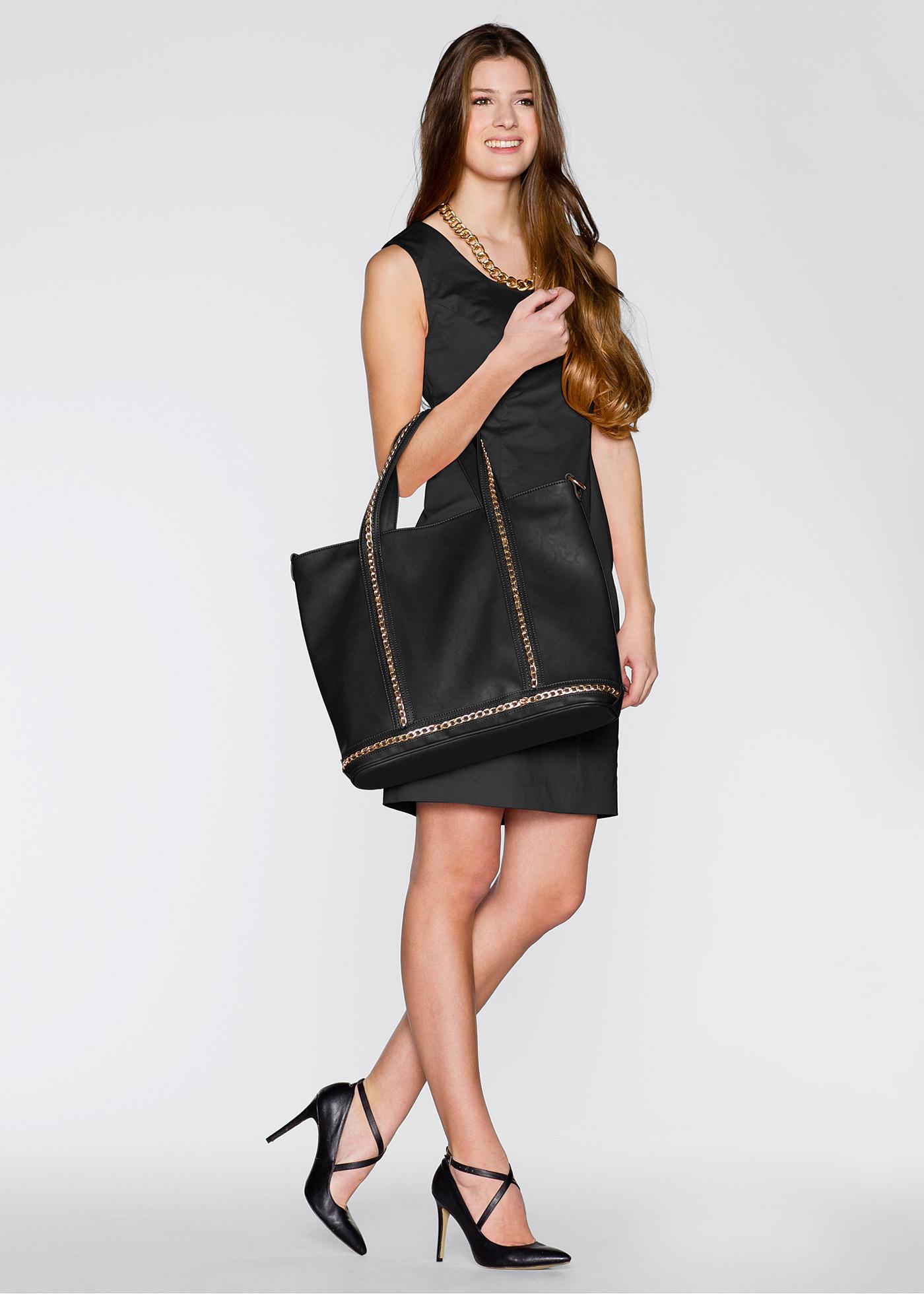 Handväska med kedjedekoration, bpc bonprix collection, svart/guldfärgad