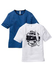 T-shirt (2-pack), bpc bonprix collection, blå randig/vit