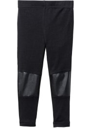 Leggings med PU-infällning, bpc bonprix collection, svart