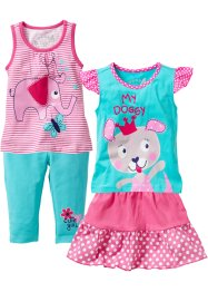 inne+T-shirt+kjol+3/4-leggings (4 delar), bpc bonprix collection, pink/aqua