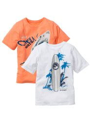 T-shirt (2-pack), bpc bonprix collection, vit/neonorange