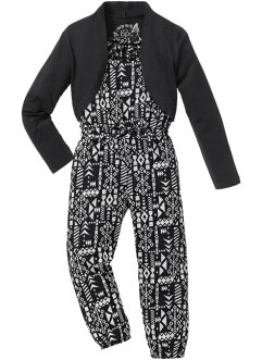Jumpsuit + bolero (2 delar), bpc bonprix collection, svart/ullvit, mönstrad