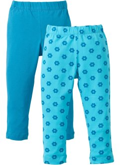 Leggings (2-pack), bpc bonprix collection, aqua, mönstrad + mörk turkos