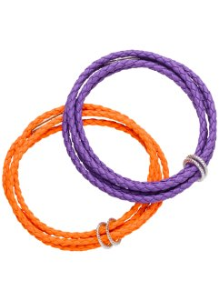 2-pack lindat armband med metallring, bpc bonprix collection, lila/orange