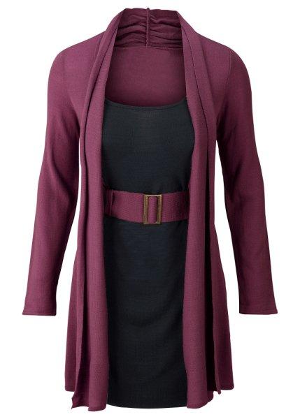Stickad klänning med skärp
