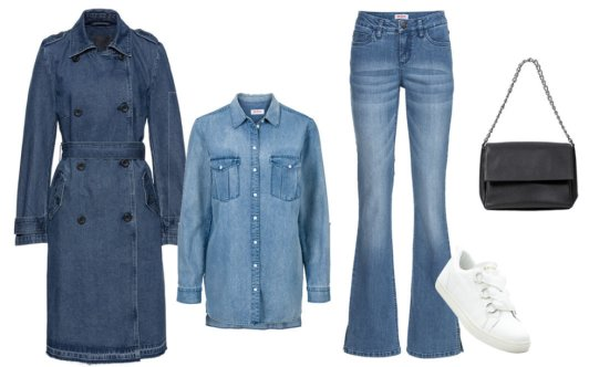 Stories - Trenchcoat i jeanstyg - blue stone