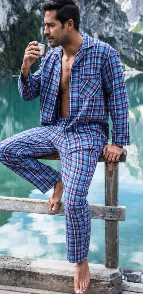 8d239c029ca9 Damen - Flanell Pyjama - blau kariert