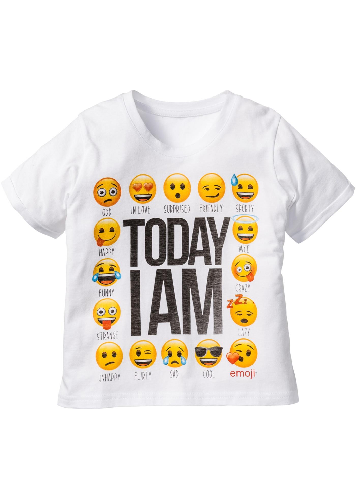 """T-shirt med """"Emoji""""-motiv, boxymodell, emoji"""