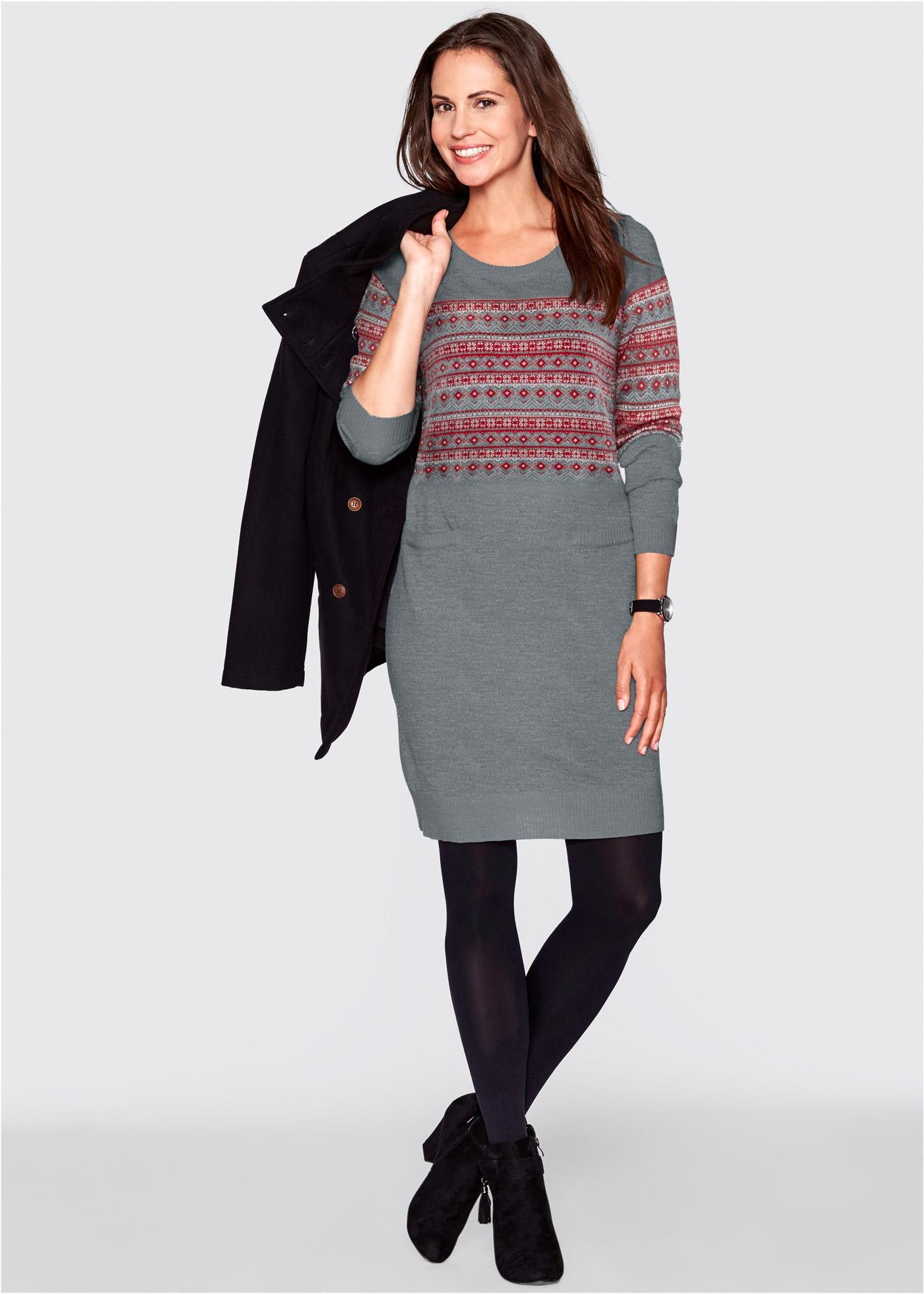 Stickad klänning, bpc bonprix collection, gråmelerad, mönstrad