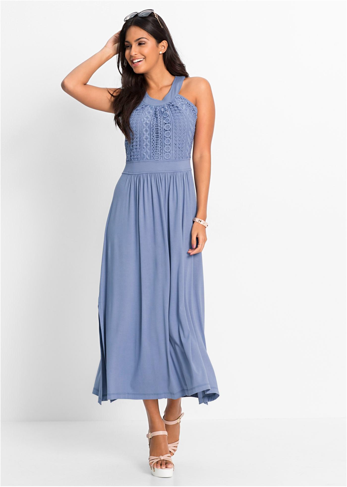 Maxiklänning i jersey med spets, BODYFLIRT, ljusblå