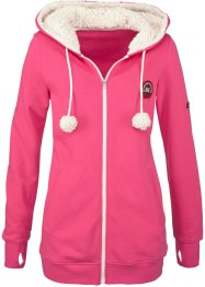 Munkjacka med mysig fleece, bpc bonprix collection, mörk pink