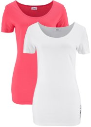 T-shirt, 2-pack, bpc bonprix collection, ljusrosa/vit