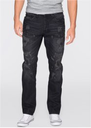 Jeans, normal passform, rakt ben, RAINBOW, black denim