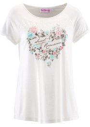 T-shirt – i design av Maite Kelly, bpc bonprix collection, ullvit, mönstrad