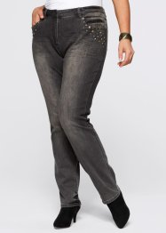 Stretchjeans med nitar, bpc selection, grey denim