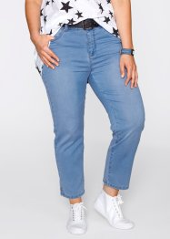 "7/8 push-up stretchjeans med sprund, ""rakt ben"", bpc bonprix collection, medium blue bleached"