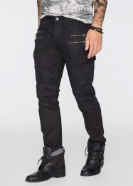 Stretchjeans, smal passform, raka ben, RAINBOW, black denim
