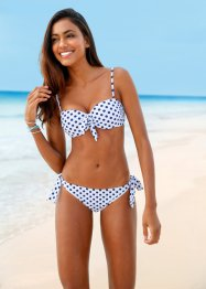 Bikini med bygel (2 delar), bpc bonprix collection, vit/blå, prickig