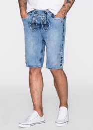 Lederhoseninspirerade jeansshorts, normal passform, RAINBOW, medium blue bleached used