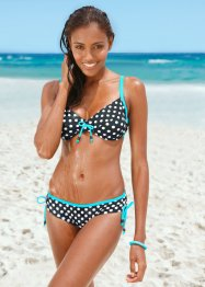 Bygelbikini, bpc bonprix collection, svart/vit, prickig