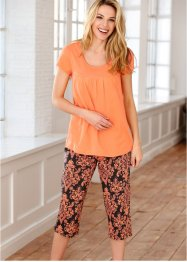 Pyjamas med capribyxor, bpc bonprix collection, orange/svart