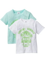T-shirt (2-pack), bpc bonprix collection, pastellmint+vit